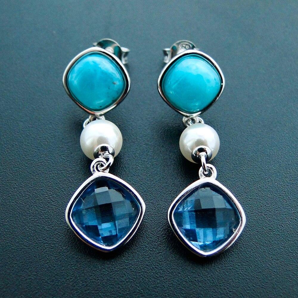 Larimar Drop Earrings Woman Blue Gemstone Crystal Pearl CZ Stone Dangle Earrings in 925 Sterling Silver