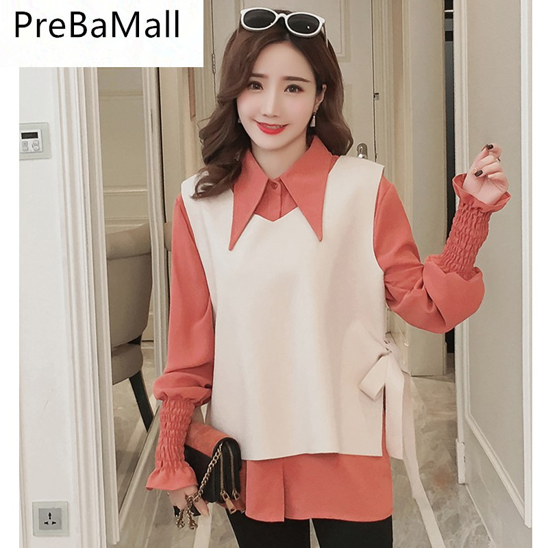 2018 Fashion Maternity Tops Elegant Shirt Clothes for Pregnant Women Puff Sleeve Pregnancy Blouse Clothing 2pcs/Set B0543