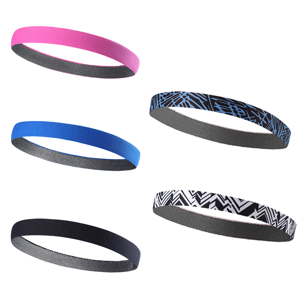 1Pcs Women Colored Sweatbands Football Yoga Pure Hair Bands Anti-slip Elastic Rubber Thin Sports Headband Men Hair Accessories