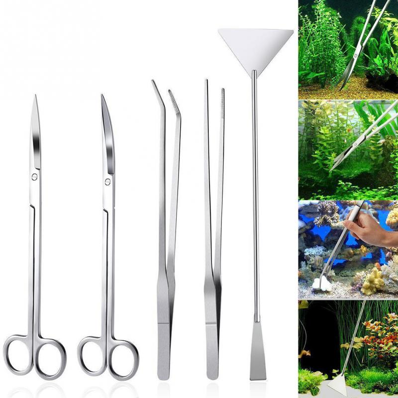5Pcs Set For Fresh And Marine Aquarium Live Plants Grass Scissor Tweezers Shovel Kit Aquarium Maintenance Tools