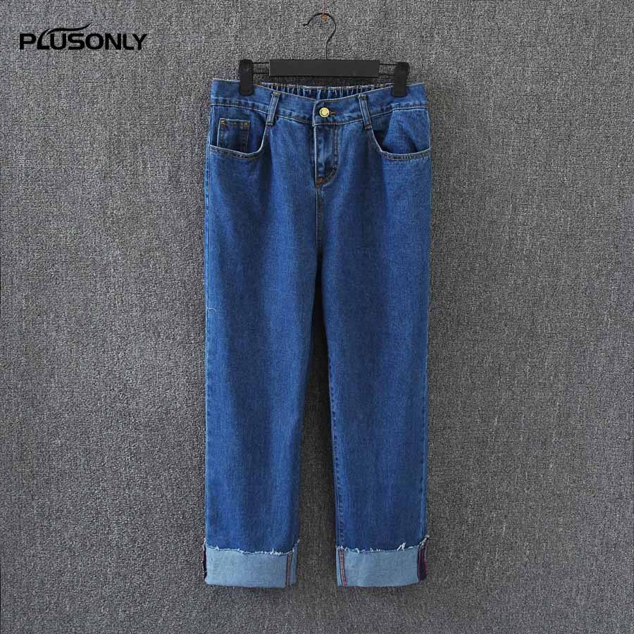Women Jeans Loose Wide Leg Pants Plus Size 3XL Trousers 2017 New Casual Cuffs Denim Jeans Blue Black KK2853 calvin klein new blue printed drawstring wide leg women s size xl pants $79 035