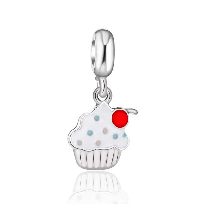 Btuamb haute qualité robe de luxe gâteau pied soleil rouge à lèvres croix coeur fleur pendentifs Fit Pandora charmes pour les femmes bijoux à bricoler soi-même
