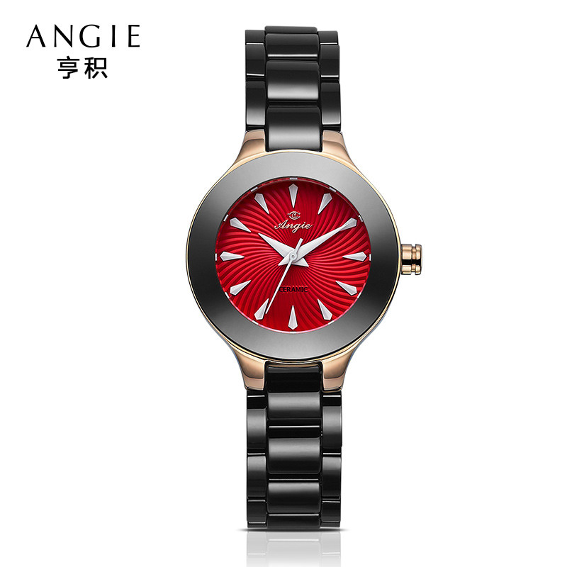ФОТО Angie Luxury Black Ceramic Water Resistant Classic Easy Read Sports Women Wrist Watch Lady'S Waterproof Watch Christmas Gift B21
