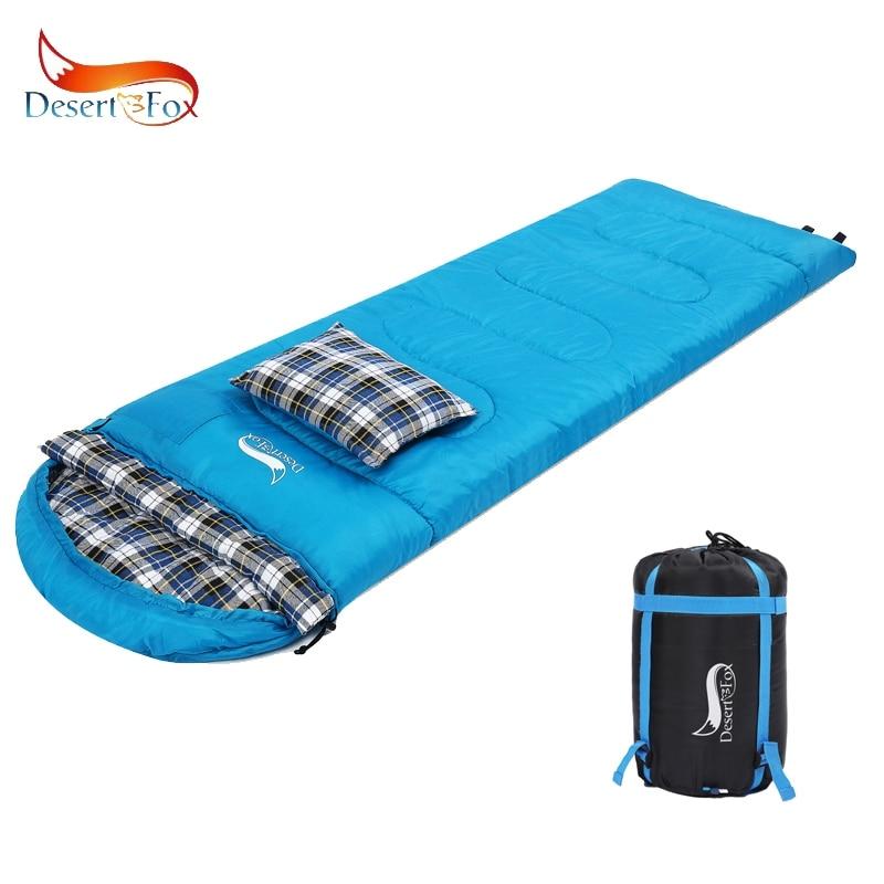 Desert & Fox flanela bawełniana śpiwory z poduszką, typu zimowego przenośny plecakiem worek kompresyjny Camping śpiwór w Śpiwory od Sport i rozrywka na AliExpress - 11.11_Double 11Singles' Day 1