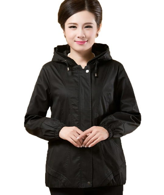 Women's Autumn 5xl trench coat Casual Hooded solid  windbreaker women ladies feminine coat  windcheater KL221