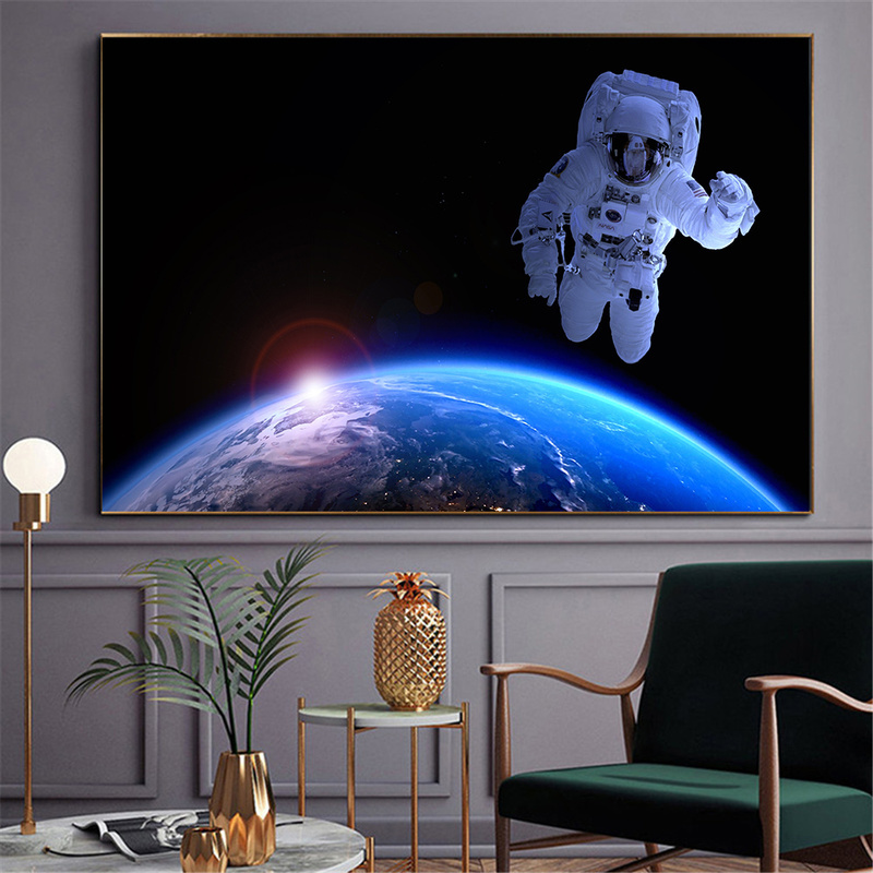 Earth Posters And Prints Astronaut Nebula Space Art Galaxy Canvas Painting Wall Pictures For Living Room Decoration Maison