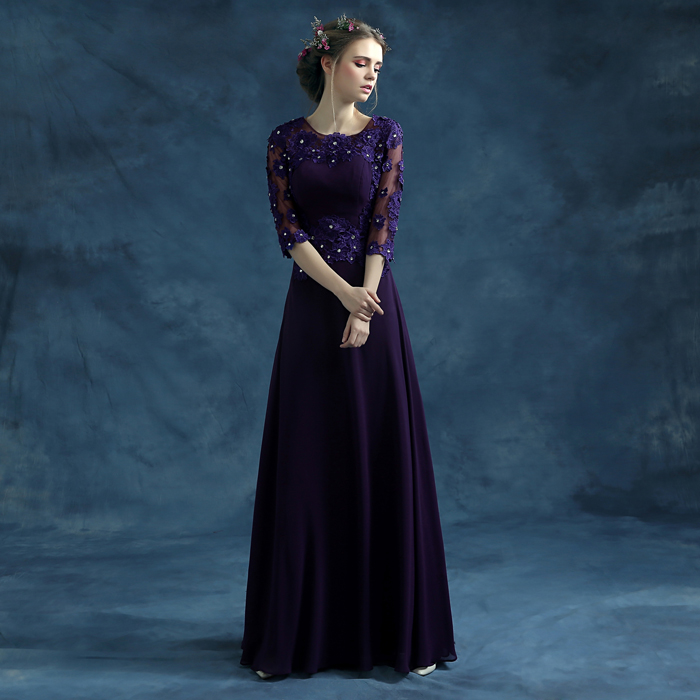 Romantic Purple Long Evening Dresses 2016 New Bride Lace Embroidery