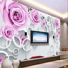 beibehang Custom wallpaper 3d stereoscopic purple rose ratta