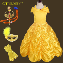 Beauty and the Beast Toddler Princess Belle Dress Up Girls Halloween Belle Costume Birthday Party Child Lush Kids Evening Gowns queene and belle свитер