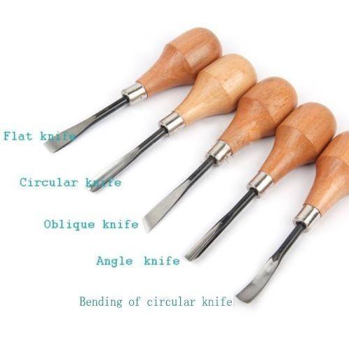 5pcs Set Woodpecke Diy Wood Carving Tools Chip Chisel Knives