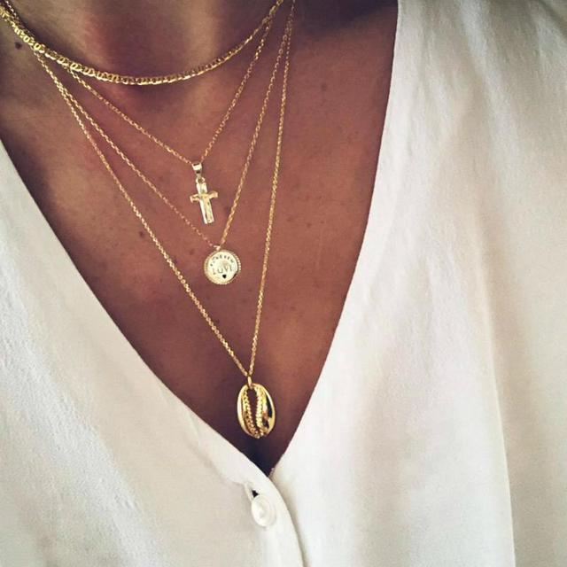 Necklace Multilayer Cross...