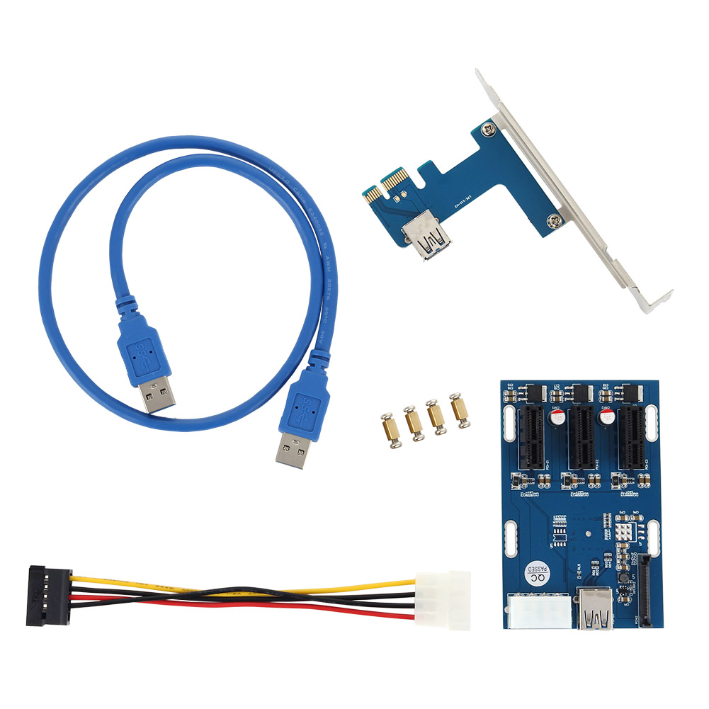 New High Quality PCI E 1X Expansion Kit 1 to 3 Ports Switch Multiplier Hub Riser Card USB 3 Cable QJY99
