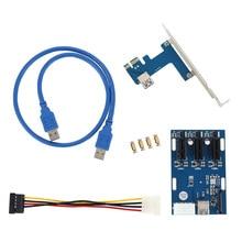 Nuevo Kit de Expansión PCI-E 1X Tarjeta Vertical de 1 a 3 Puertos de Switch Hub Multiplicador USB 3 Cable QJY99