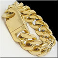 """Ouro/Prata 8.66 """"20mm Venda Quente! moda Cadeia Curb Cubano Pulseira de Aço Inoxidável dos homens Pesados Pulseira, alta Qualidade"""