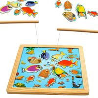 Children Wooden Ocean Magnetic Double Rod Fishing Game Baby Kids Outdoor Fun Toy 3D Jigsaw Board Educational Puzzles