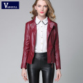 Women Jacket PU 2016 New Casual Jackets Women Black Leather Jacket Outerwear Coats Oblique Zipper Slim Motorcycle PU Jacket