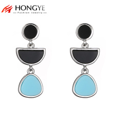 HONGYE 2018 Long Drop Earrings Black Blue Imitation Resin Stone Half-Circle Water Drop Earrings Long Women Brincos