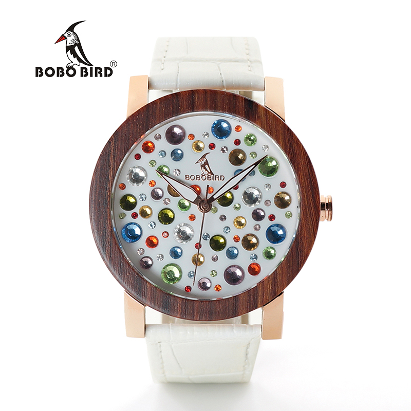 BOBO BIRD WJ04J06 Wooden Watches for Women Colorful Gems Imitate Diamond Dial Face High Quality Quartz Watch for Ladies Wood Box