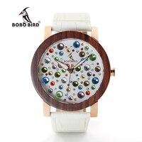 BOBO BIRD J04J06 Wooden Watches For Women Colorful Gems Imitate Diamond Dial Face High Quality Quartz