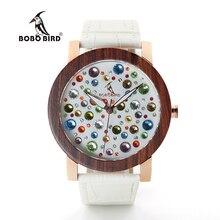 BOBO WJ04J06 PÁJARO De Madera Relojes para Las Mujeres Coloridas Gemas Imitar Cara Del Dial de Reloj de Cuarzo de Alta Calidad de diamantes para Damas De Madera caja