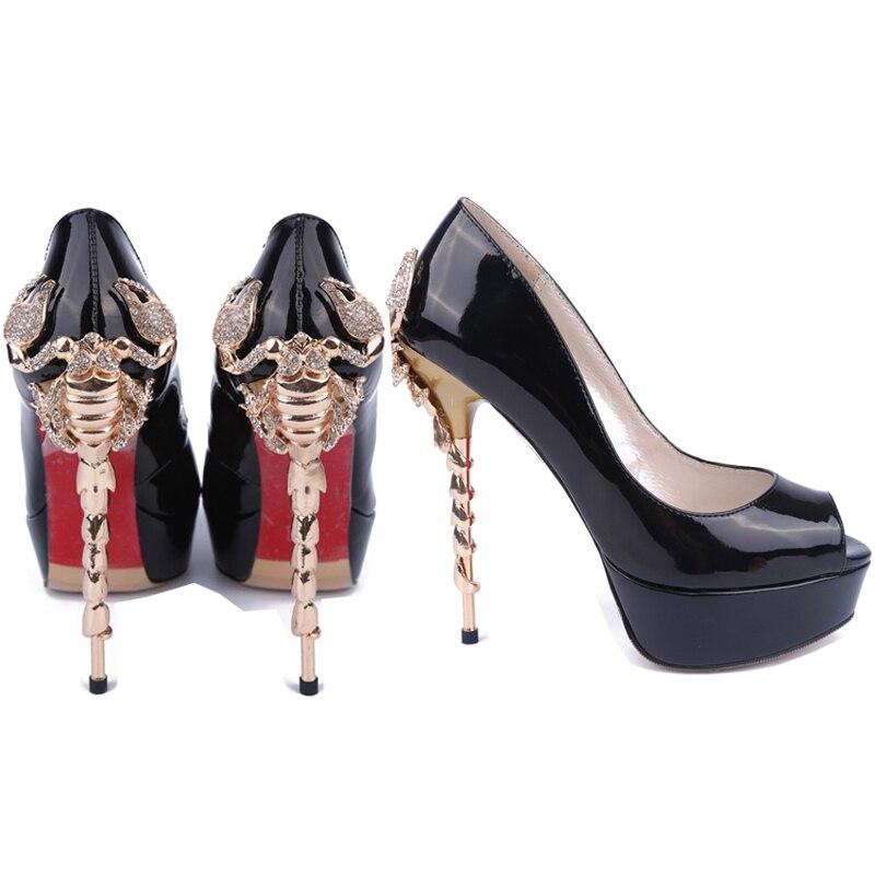 Women Peep Toe Patent Leather Platform Metal Rhinestone High Stiletto Heel Shoes