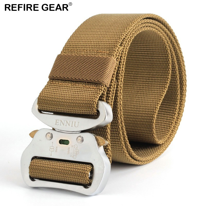 100% Quality Refire Gear Outdoor Tactical Nylon Belts Men Quick Release Heavy Duty Sports Waist Belt Male Paintball Combat Strap 4.3cm