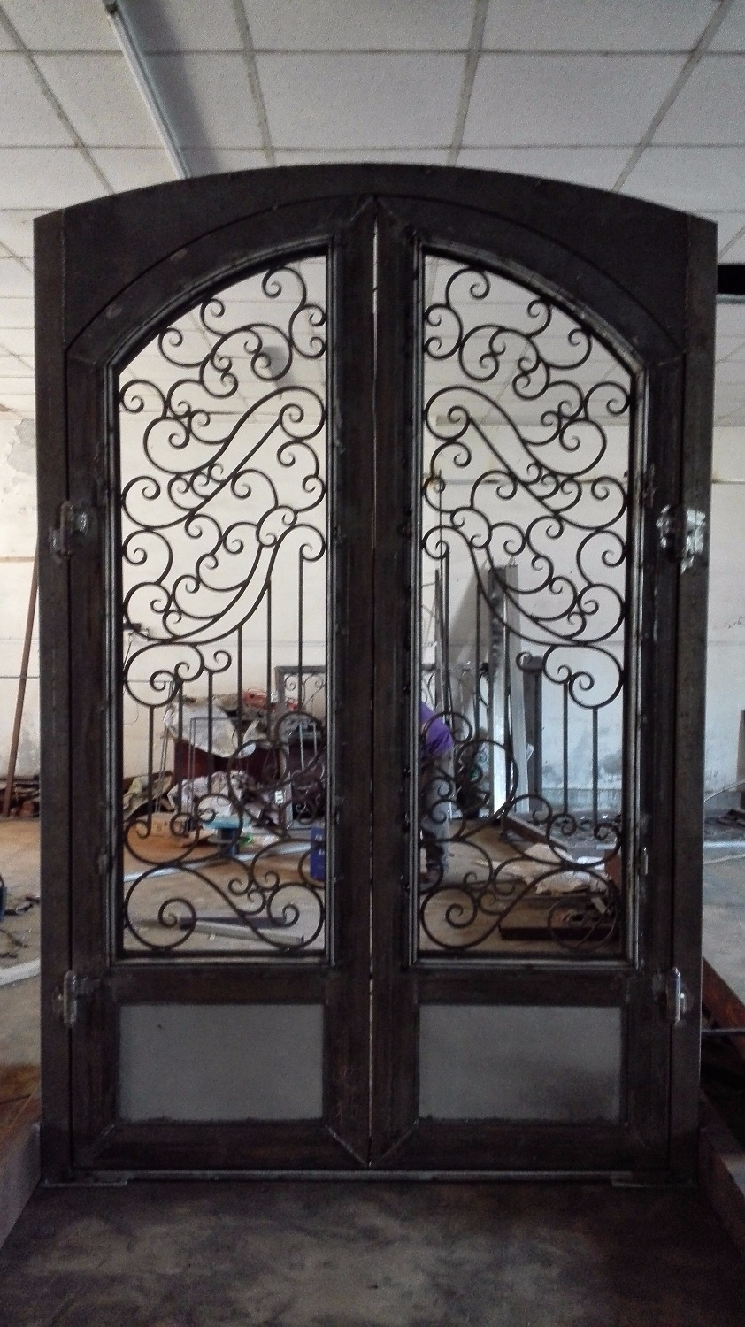 Custom Made Wrought Iron Doors 72 X 108 Inches 12 Gauge Glass Window