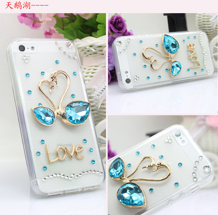 For Huawei P7 case rhinestone mobile phone cases Transparent case protective cover colorful glossy case 1