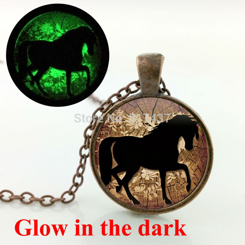 Glow in the dark jewelry Prancing Horse necklace Equestrian Jewelry Nature Animal glass art photo glowing necklace