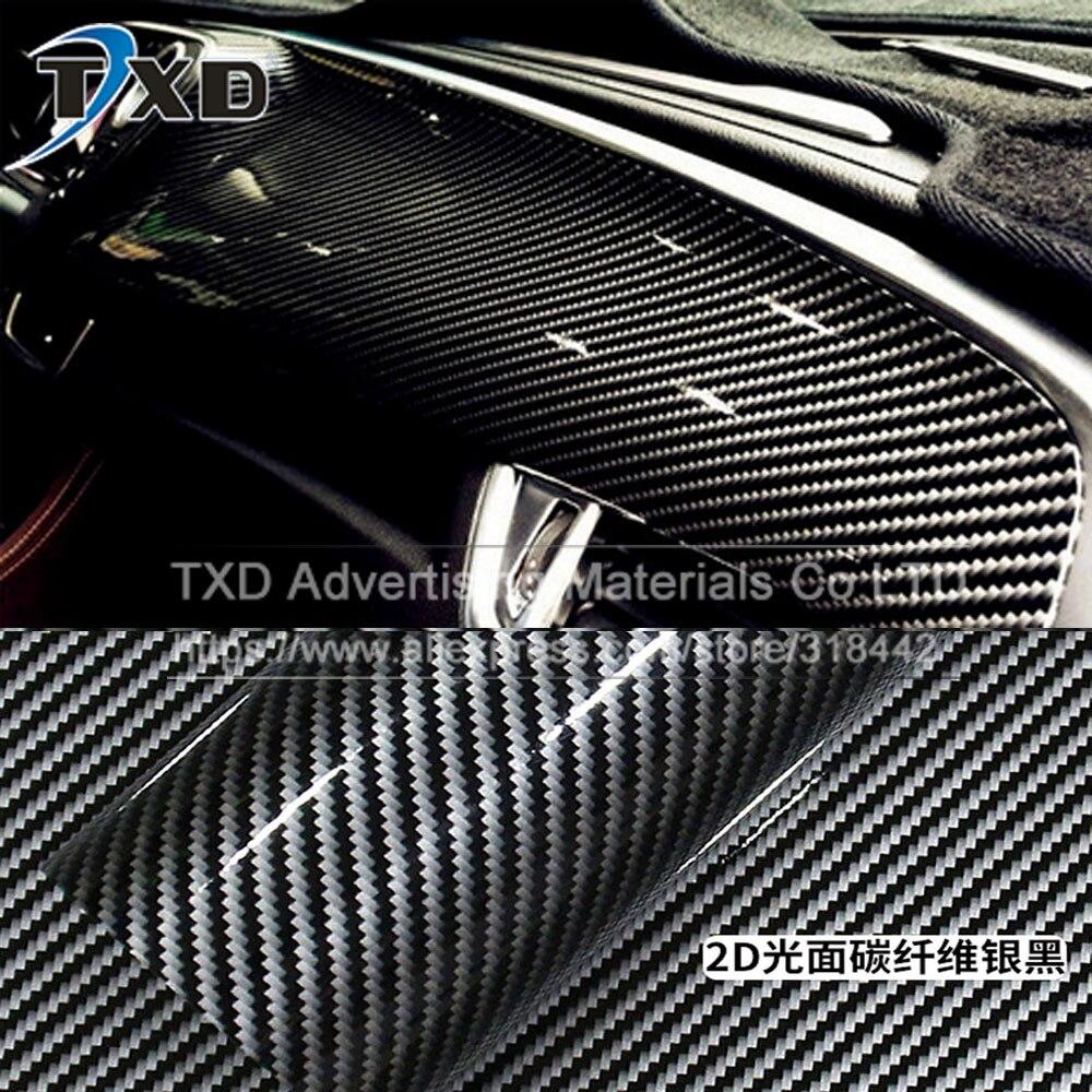 Car carbon sticker design - 50cmx152cm 2d Car Sticker Glossy Carbon Fiber Vinyl Film Wrap Foil 2d Carbon Vinyl Sticker Waterproof