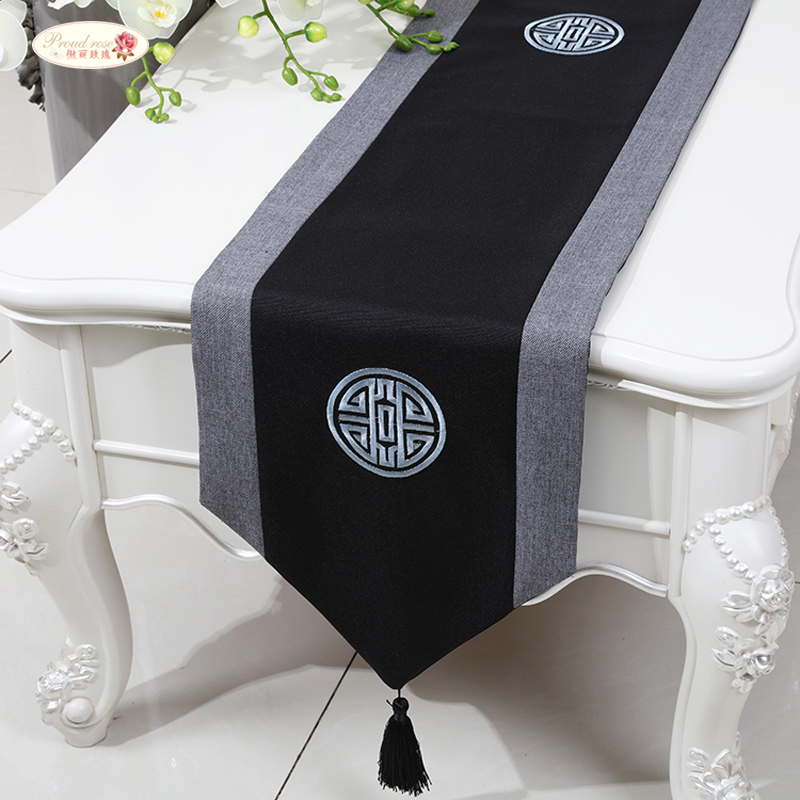 Proud Rose Linen Table Runner Decorative Tablecloth Chinese Style Rectangle Table Flag Fashion Household Table Mat Customed
