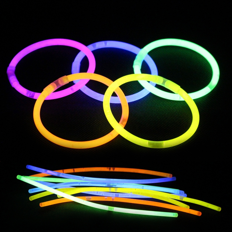 100Pcs/Lot Multi Color Glow Stick Fun Fluorescence Luminous Bracelets Necklaces Party Festivities Ceremony Night Light Sticks