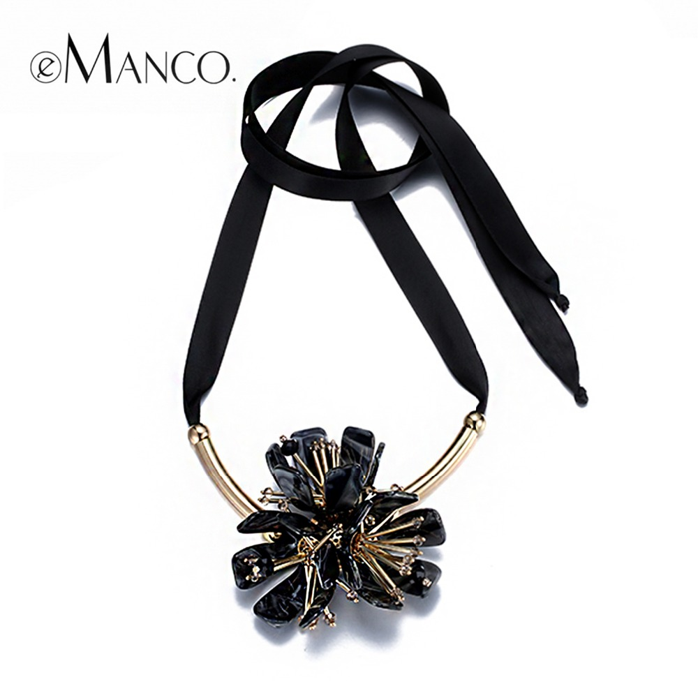 eManco Big Acrylic Wire Chain Necklaces Statement Flower Pendants Brand New Fashion Necklaces Cosmetic Women Accessories