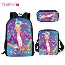 Thikin Jojo Siwa 3Pcs/set Children Fashion School Bags for Boys Backpack Teen Girls Kids Book