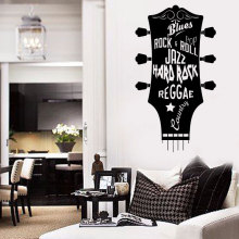 Guitar Vinyl Wall Sticker Musical Art Home Decoration New Design Head Mural Hard Rock Music Decals YY19