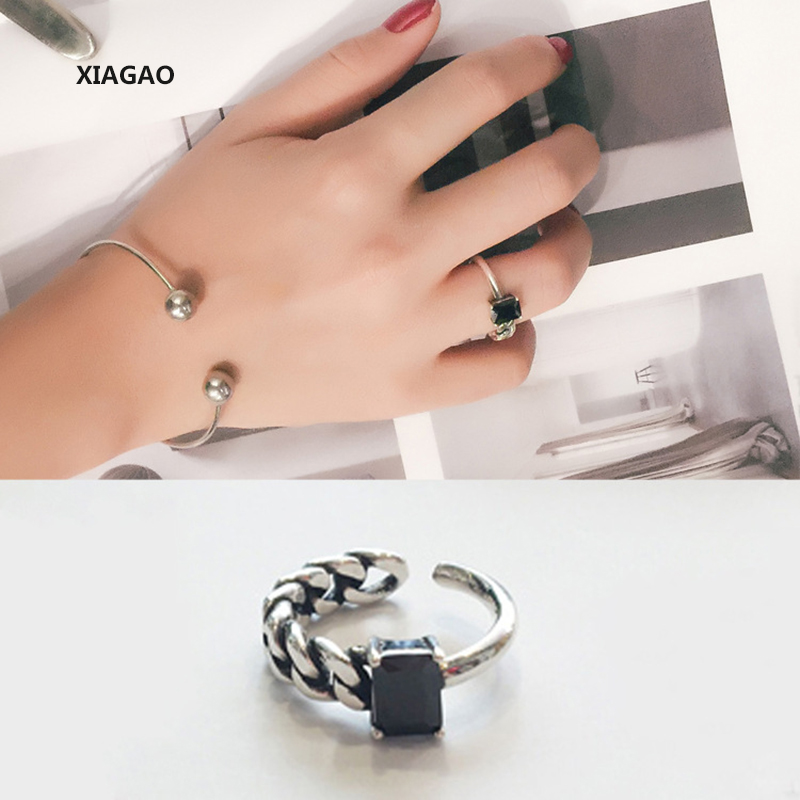 XIAGAO 925 Sterling Silver Open Ring With Square font b Crystal b font For Women Retro