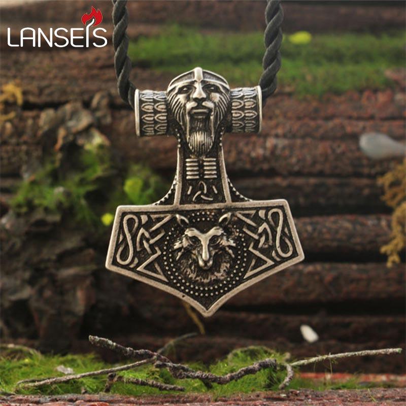 1pcs Viking fox necklace Thor's Hammer Mjolnir Pendant Lge Odins Norse Fox men amulet jewelry