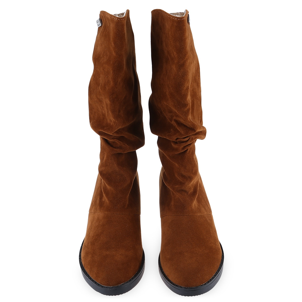 Flat Women Boots Autumn Winter Mid Calf Boots Casual Ladies Slip On Shoes Woman