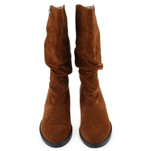 Flat Women Boots Autumn Winter Mid-Calf Boots Casual Ladies Slip On Shoes Woman