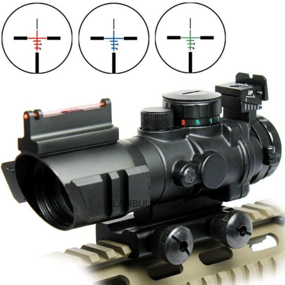 Lunette de visée tactique 4x32 Acog 20mm queue d'aronde Reflex optique portée Fiber de vue pour chasse fusil à Air comprimé Airsoft Sniper loupe