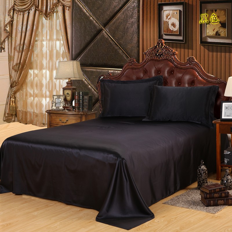 Free Shipping Luxury Satin Silk Bed Seet King Queen Twin Size Solid Black Flat Bedsheet