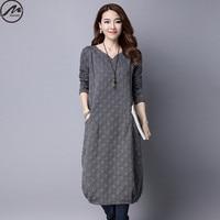 MIWIMD Big Size Women Autumn Winter Dresses 2017 New Fashion Casual Loose Long Sleeve Vintage Jacquard