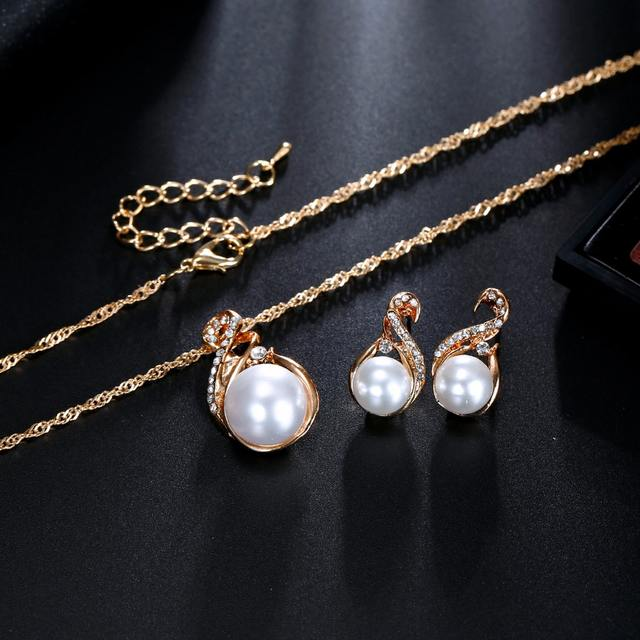 VKME Trendy Jewelry Sets Wedding Silver Color Earrings Simulated Pearl