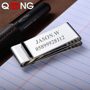 QOONG Men Women Metal Money Clip Wallet Stainless Steel Slim Third Sided Credit Card Money Holder Bill Steel Clip Clamp ML1-005 qoong stainless steel double sided metal money clip fashion simple silver black dollar cash clamp holder wallet for men women