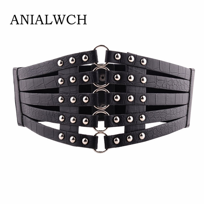Top Female Vintage Black Rivet Corset Belt For Women Clothes Elastic Waistband Hot Shape-Making Feminine Belt Cummerbunds A001