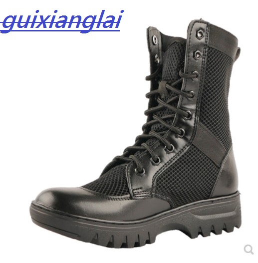 Summer Men's Military Boots 07 Combat Leather Ultra Light Outdoor High-top Mesh Breathable Training Tactical Boots