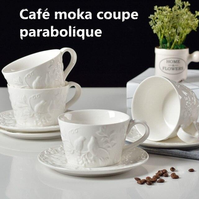 350 ml Moka Ccoffee En Céramique Tasse 3D Relif Tirez Fleur Haute Capacité Café Tasses Cappuccino Café Tasses Soucoupe Ensemble Livraison gratuite