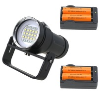 Underwater 100m 25000 lumen 15x Cree XML2 White +6x Red +6x Blue / UV Light LED Photography Video Diving Flashlight Torch