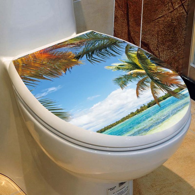 Waterproof Toilet Seat Wall Sticker Landscape Beach Decal Vinyl Self Adhesive Home Decor Bath Room