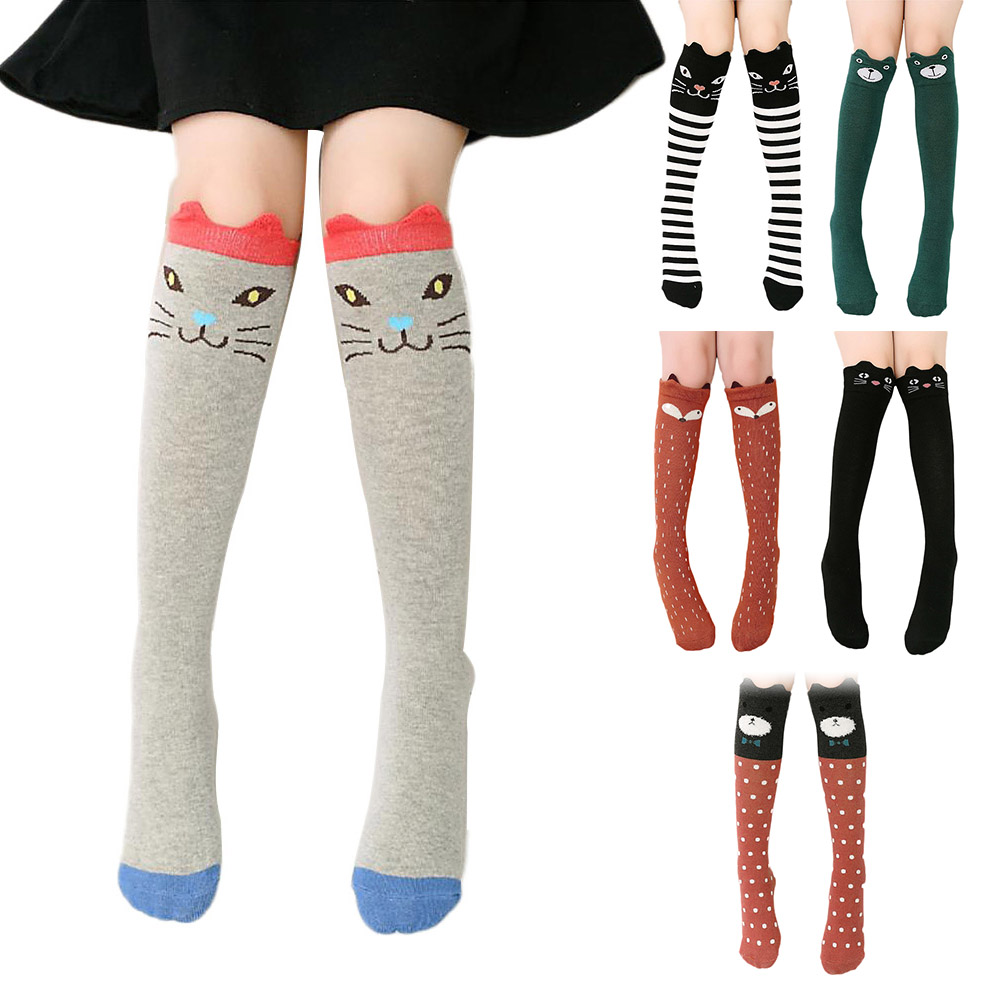 Fashion Children Girls Kids Cartoon Animal Over Knee High Long Socks Leg Warmers